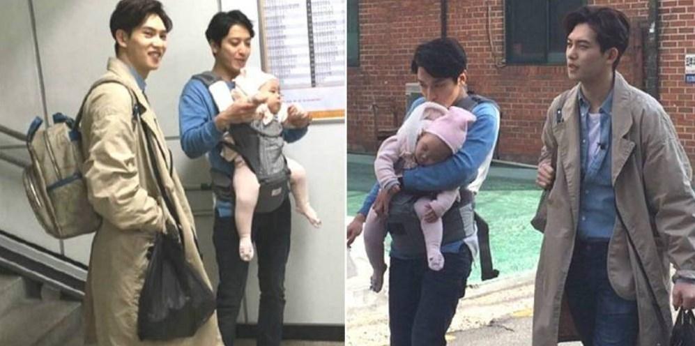 yonghwa y jonghyun con el bebe de eugene
